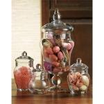 Terra Kitchen Apothecary Jars | Counter Storage Clear Glass Set of 4