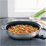 Cuisinart Oval Electric Skillet w/ Lid | Brushed Stainless Steel Nonstick CSK-150