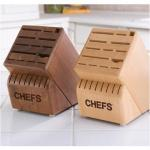 CHEFS Hardwood Knife Storage Block | Kitchen Cutlery 22 Slot Laminated